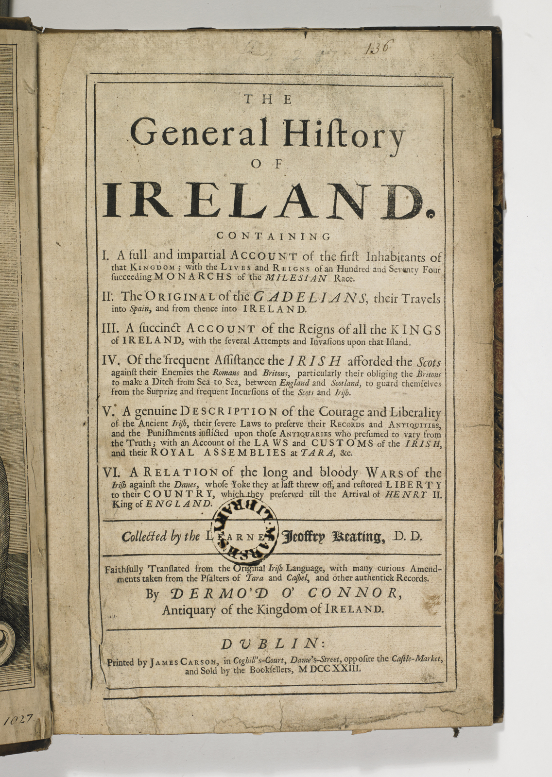 Geoffrey Keating, General History of Ireland, Title Page