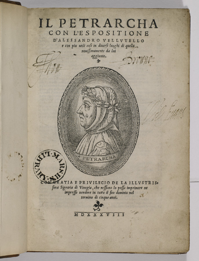 Title page of Francesco Petrarch, Il Petrarcha con l'espositione d'Alessandro