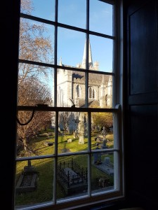 St Patrick's cathedral seen from library window