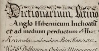 Around 1743, the library paid £20 for this dictionary which links Latin, English, and Irish (Gaelic).