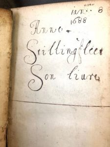 Page with Anne Stillingfleet's inscription